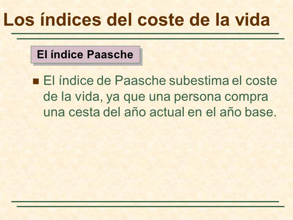 El índice de Paasche subestima el coste de la vida, ya que una persona compra una cesta del año actual en el año base. El índice Paasche Los índices d