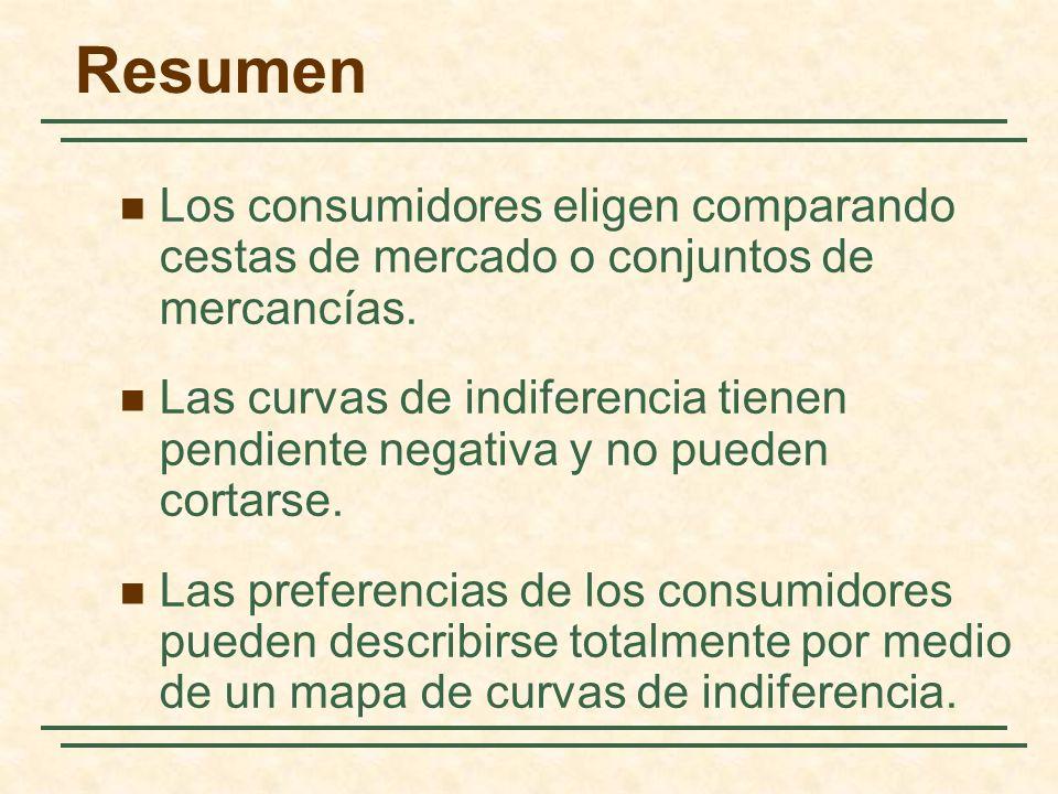 Los consumidores eligen comparando cestas de mercado o conjuntos de mercancías. Las curvas de indiferencia tienen pendiente negativa y no pueden corta
