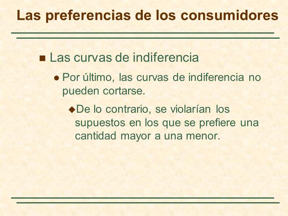 Las curvas de indiferencia Por último, las curvas de indiferencia no pueden cortarse. De lo contrario, se violarían los supuestos en los que se prefie