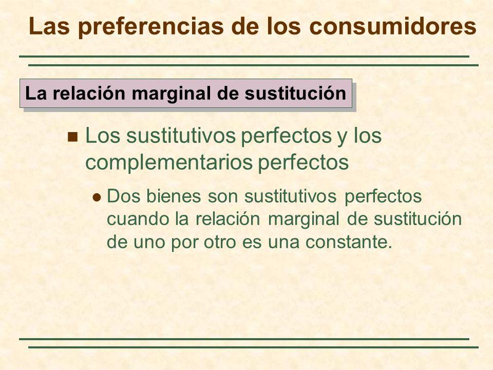 Los sustitutivos perfectos y los complementarios perfectos Dos bienes son sustitutivos perfectos cuando la relación marginal de sustitución de uno por