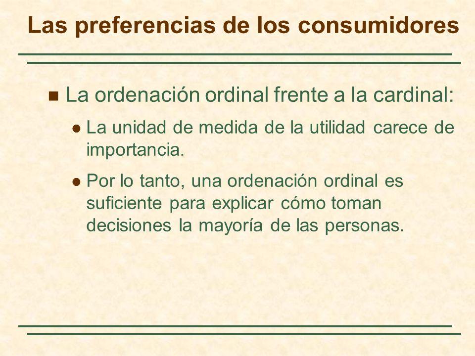 La ordenación ordinal frente a la cardinal: La unidad de medida de la utilidad carece de importancia. Por lo tanto, una ordenación ordinal es suficien