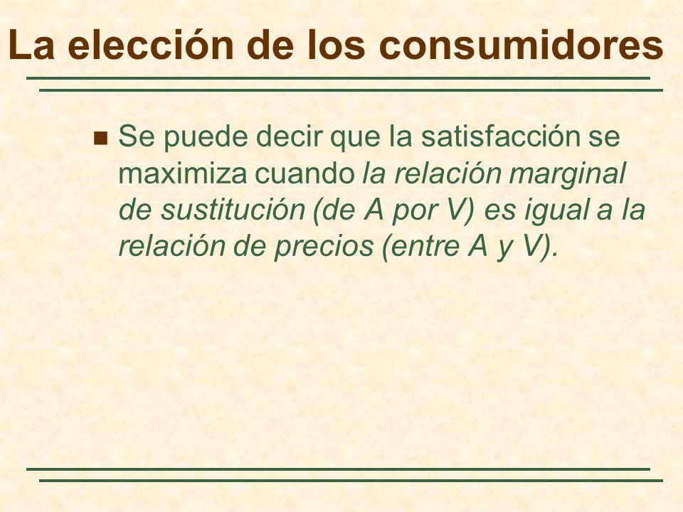 Se puede decir que la satisfacción se maximiza cuando la relación marginal de sustitución (de A por V) es igual a la relación de precios (entre A y V)