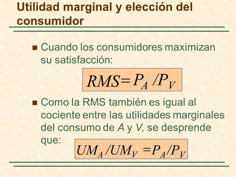 Cuando los consumidores maximizan su satisfacción: /P V P A RMS /P V P A /UM V UM A Como la RMS también es igual al cociente entre las utilidades marg