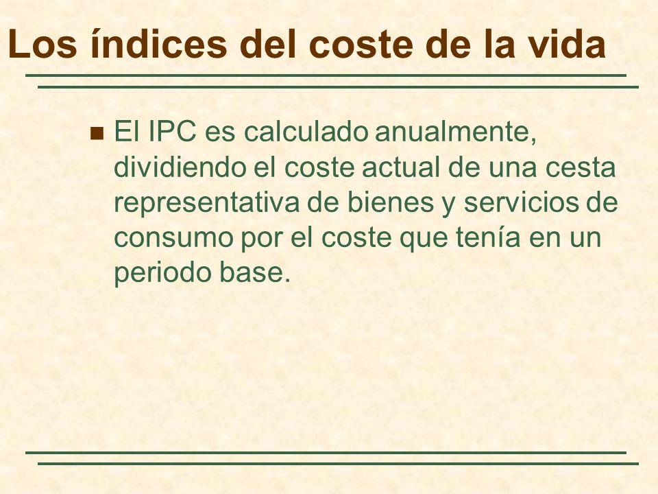Los índices del coste de la vida El IPC es calculado anualmente, dividiendo el coste actual de una cesta representativa de bienes y servicios de consu