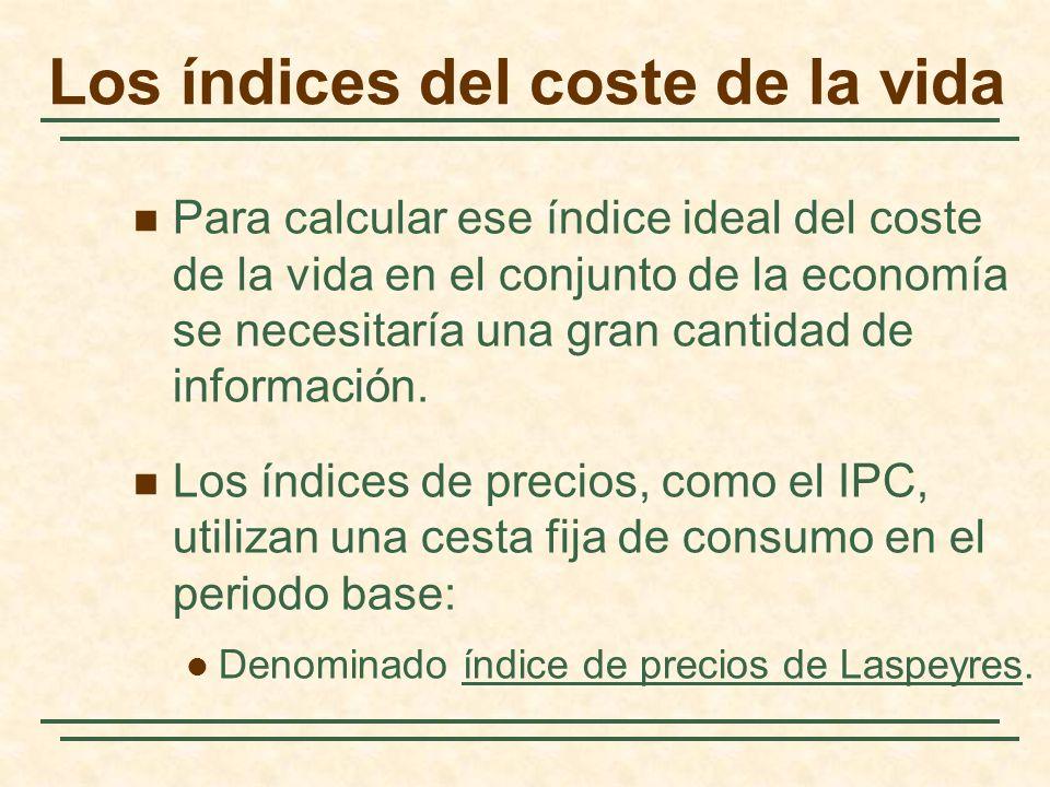 Para calcular ese índice ideal del coste de la vida en el conjunto de la economía se necesitaría una gran cantidad de información. Los índices de prec
