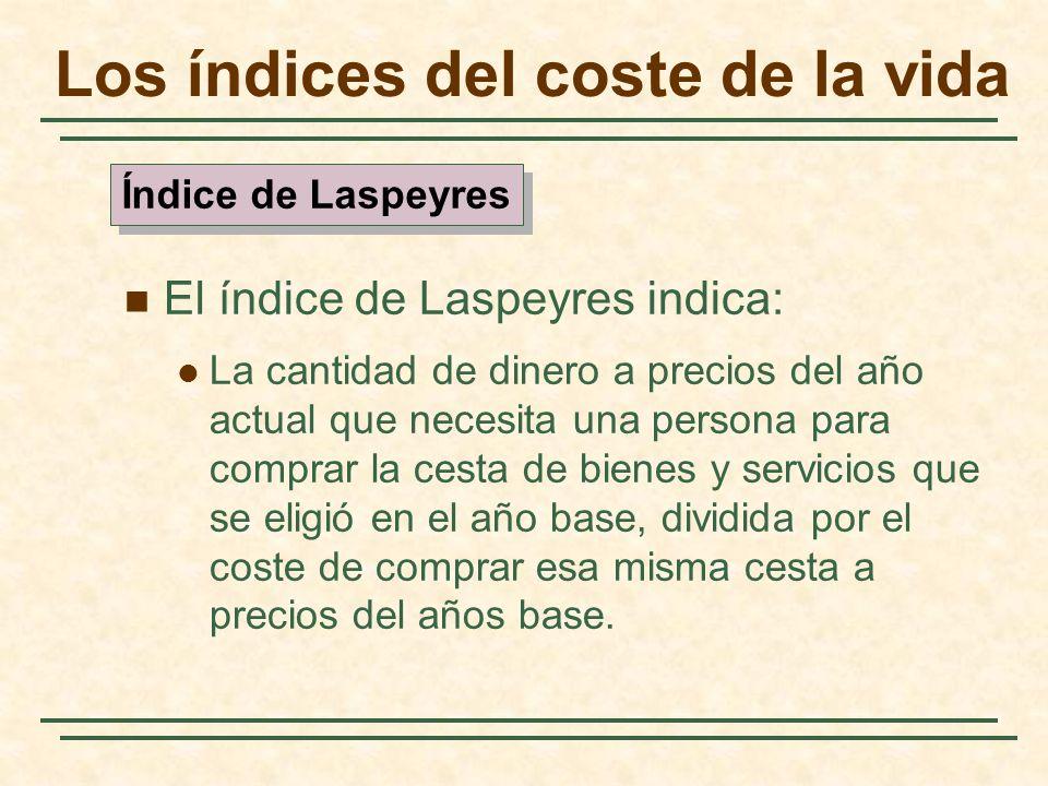 El índice de Laspeyres indica: La cantidad de dinero a precios del año actual que necesita una persona para comprar la cesta de bienes y servicios que