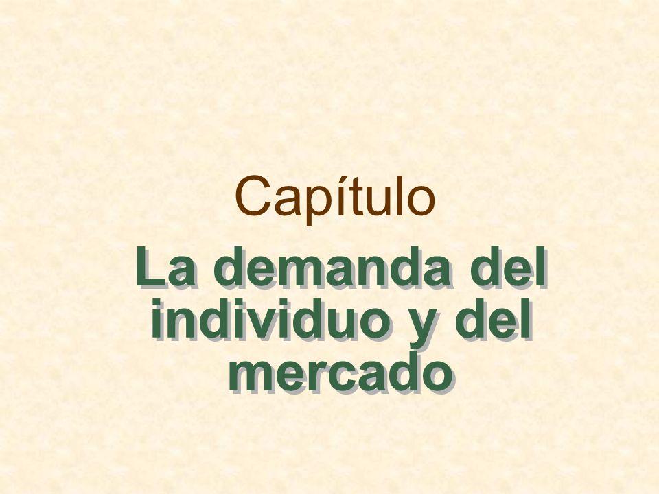 Esbozo del capítulo La demanda individual El efecto-renta y el efecto-sustitución La demanda del mercado El excedente del consumidor