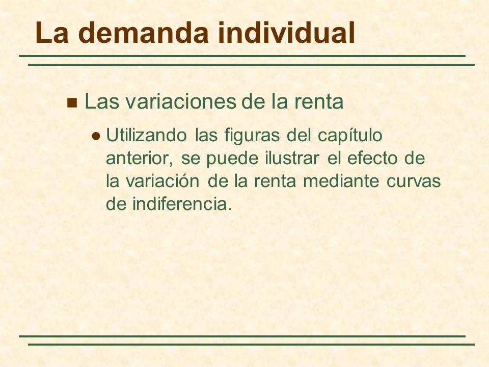 La demanda individual Las variaciones de la renta Utilizando las figuras del capítulo anterior, se puede ilustrar el efecto de la variación de la rent