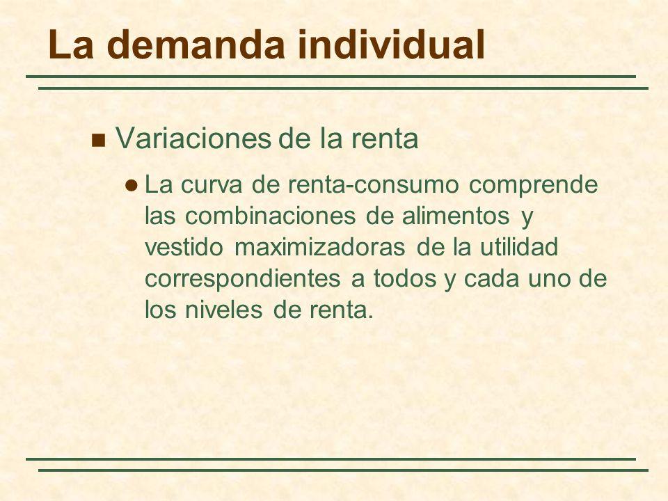 La demanda individual Variaciones de la renta La curva de renta-consumo comprende las combinaciones de alimentos y vestido maximizadoras de la utilida