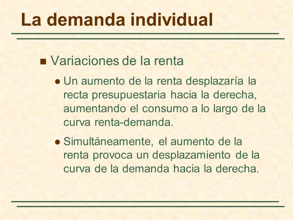 La demanda individual Variaciones de la renta Un aumento de la renta desplazaría la recta presupuestaria hacia la derecha, aumentando el consumo a lo