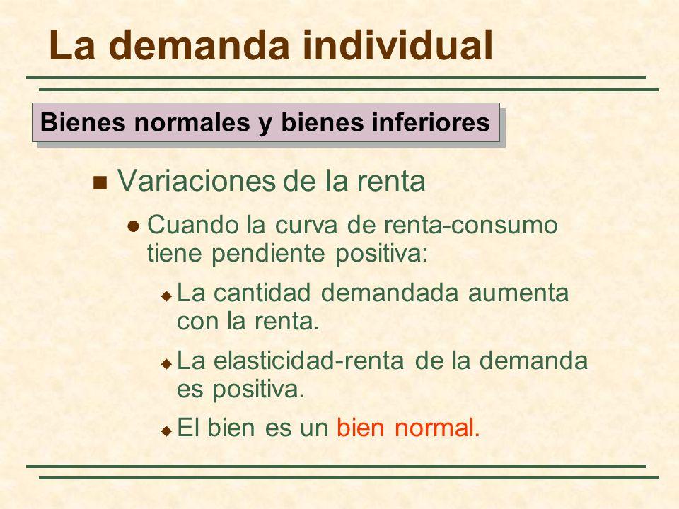 La demanda individual Variaciones de la renta Cuando la curva de renta-consumo tiene pendiente positiva: La cantidad demandada aumenta con la renta. L