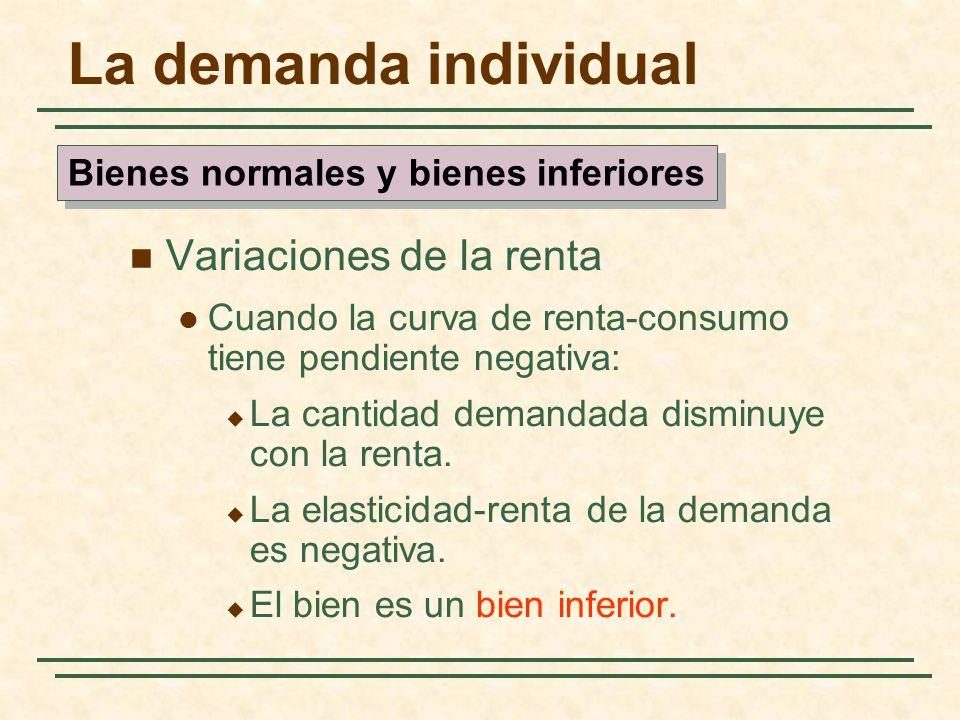 La demanda individual Variaciones de la renta Cuando la curva de renta-consumo tiene pendiente negativa: La cantidad demandada disminuye con la renta.