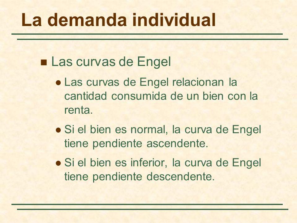 La demanda individual Las curvas de Engel Las curvas de Engel relacionan la cantidad consumida de un bien con la renta. Si el bien es normal, la curva