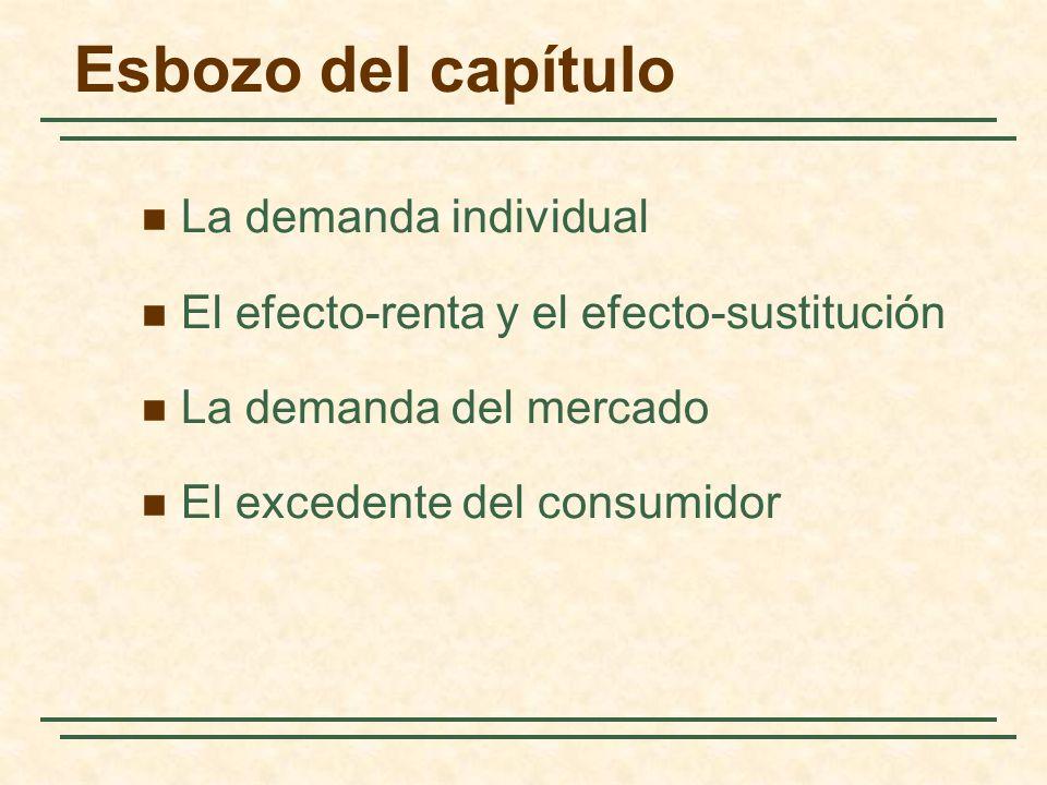 La demanda individual 1) Dos bienes son sustitutivos si la subida (la bajada) del precio de uno de ellos provoca un aumento (una reducción) de la cantidad demandada de otro.