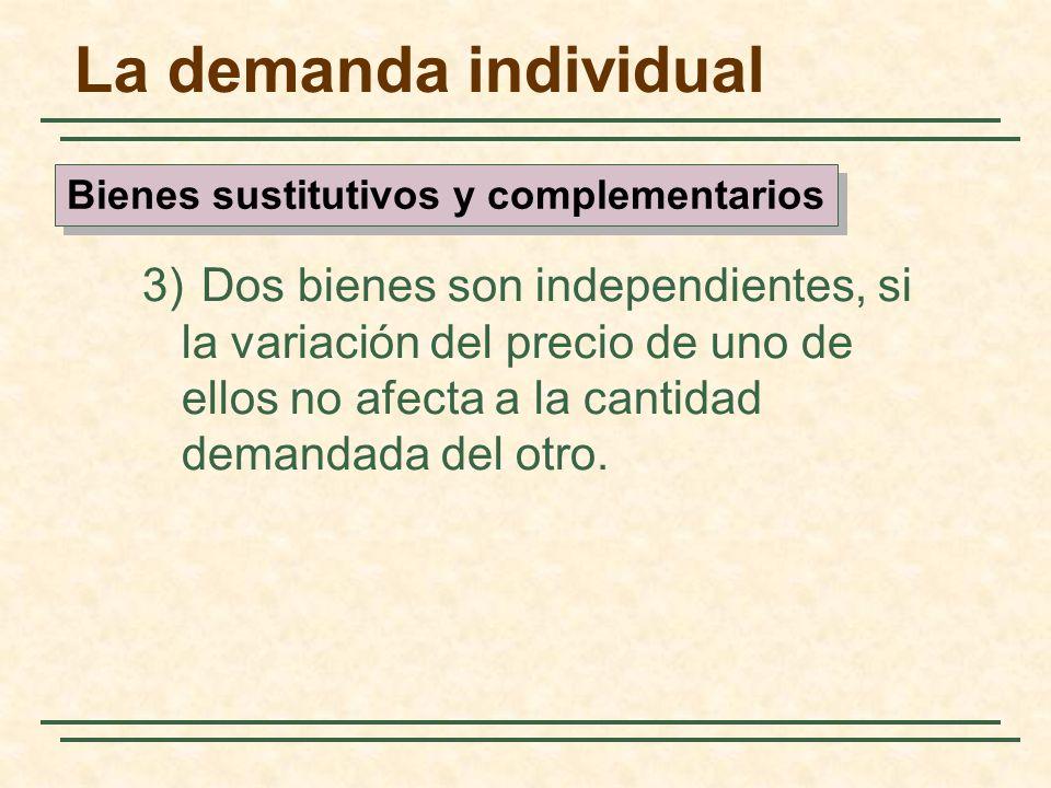 La demanda individual 3) Dos bienes son independientes, si la variación del precio de uno de ellos no afecta a la cantidad demandada del otro. Bienes