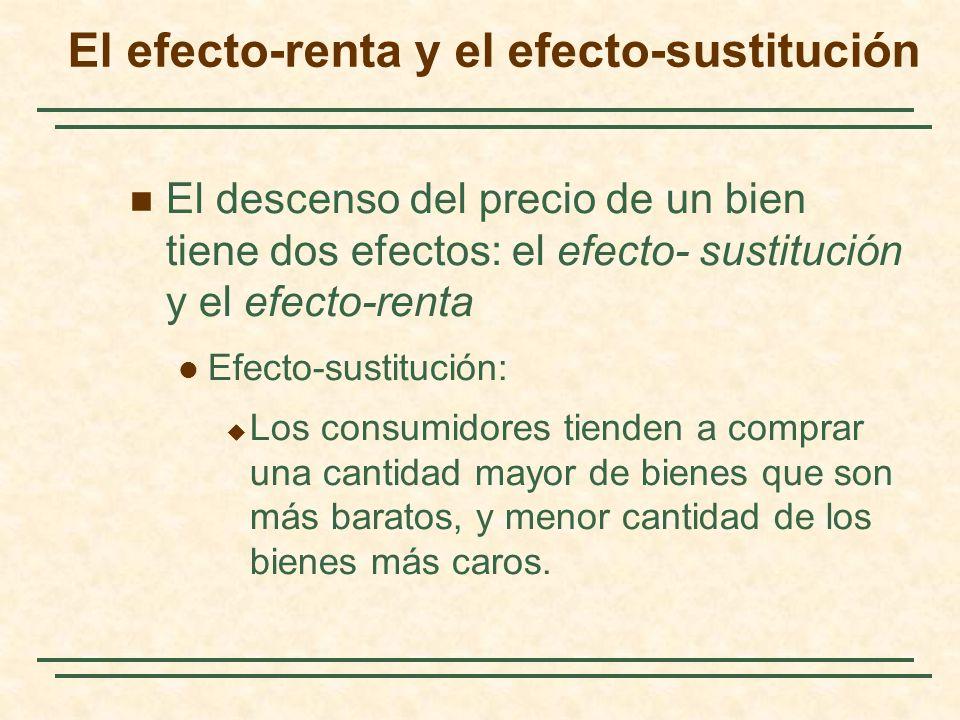 El efecto-renta y el efecto-sustitución El descenso del precio de un bien tiene dos efectos: el efecto- sustitución y el efecto-renta Efecto-sustituci