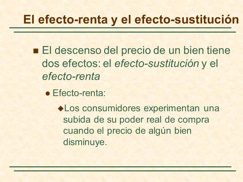 El efecto-renta y el efecto-sustitución El descenso del precio de un bien tiene dos efectos: el efecto-sustitución y el efecto-renta Efecto-renta: Los