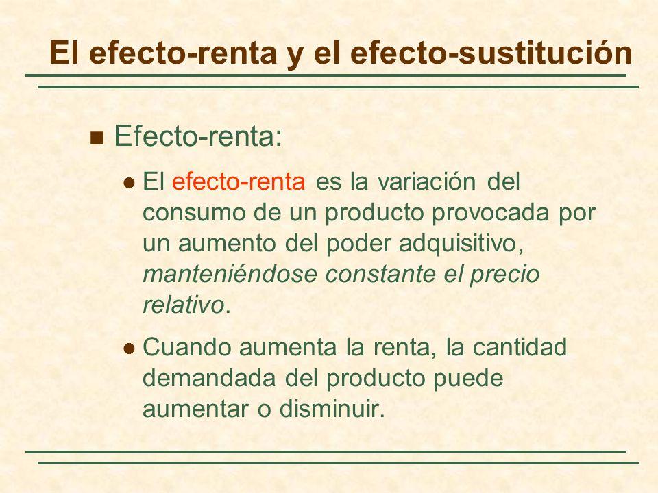 El efecto-renta y el efecto-sustitución Efecto-renta: El efecto-renta es la variación del consumo de un producto provocada por un aumento del poder ad