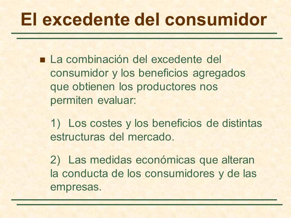 El excedente del consumidor La combinación del excedente del consumidor y los beneficios agregados que obtienen los productores nos permiten evaluar: