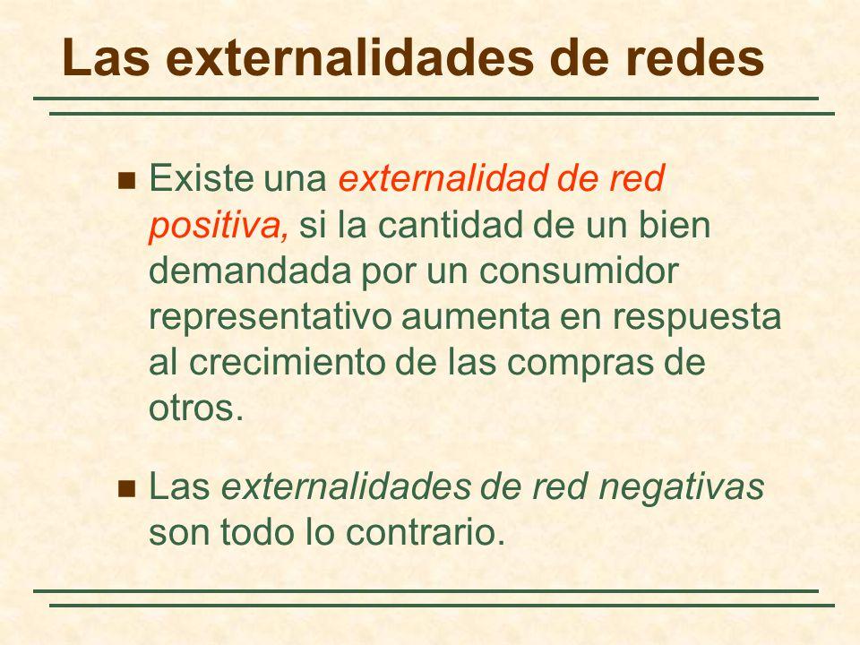 Las externalidades de redes Existe una externalidad de red positiva, si la cantidad de un bien demandada por un consumidor representativo aumenta en r