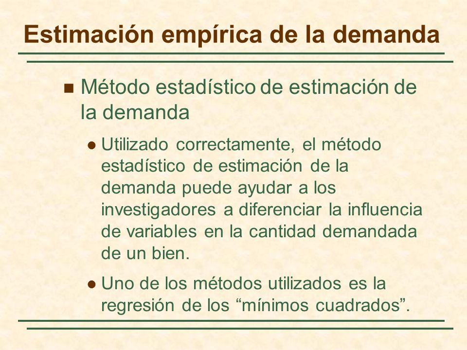 Método estadístico de estimación de la demanda Utilizado correctamente, el método estadístico de estimación de la demanda puede ayudar a los investiga