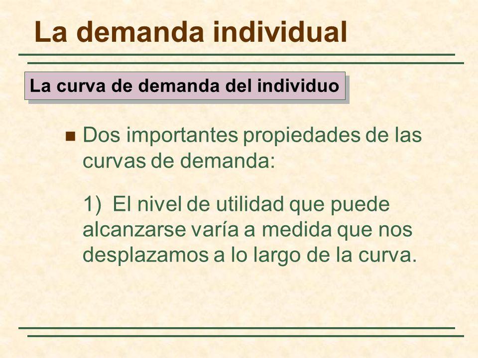 La demanda individual Dos importantes propiedades de las curvas de demanda: 1)El nivel de utilidad que puede alcanzarse varía a medida que nos desplaz