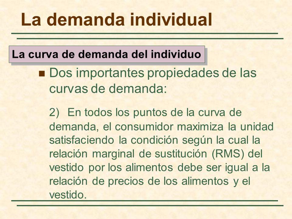 La demanda individual Dos importantes propiedades de las curvas de demanda: 2)En todos los puntos de la curva de demanda, el consumidor maximiza la un