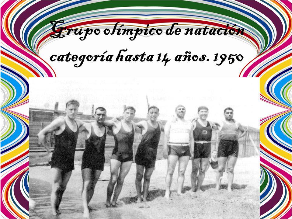 Grupo olímpico de natación categoría hasta 14 años. 1950