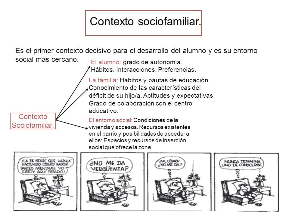 Contexto sociofamiliar. Es el primer contexto decisivo para el desarrollo del alumno y es su entorno social más cercano. Contexto Sociofamiliar. El al