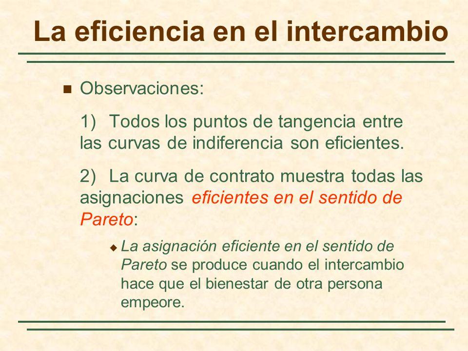 La eficiencia en el intercambio Observaciones: 1)Todos los puntos de tangencia entre las curvas de indiferencia son eficientes.