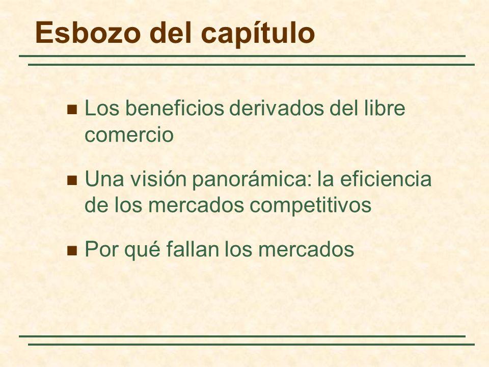 Esbozo del capítulo Los beneficios derivados del libre comercio Una visión panorámica: la eficiencia de los mercados competitivos Por qué fallan los mercados