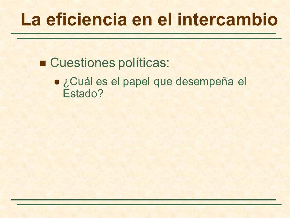 La eficiencia en el intercambio Cuestiones políticas: ¿Cuál es el papel que desempeña el Estado?