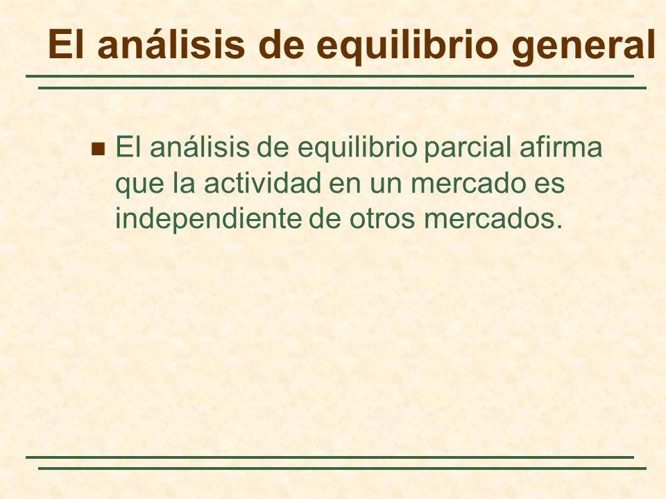 El análisis de equilibrio general El análisis de equilibrio parcial afirma que la actividad en un mercado es independiente de otros mercados.