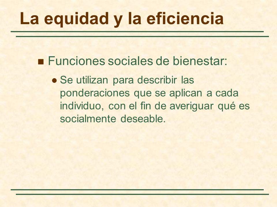 La equidad y la eficiencia Funciones sociales de bienestar: Se utilizan para describir las ponderaciones que se aplican a cada individuo, con el fin de averiguar qué es socialmente deseable.