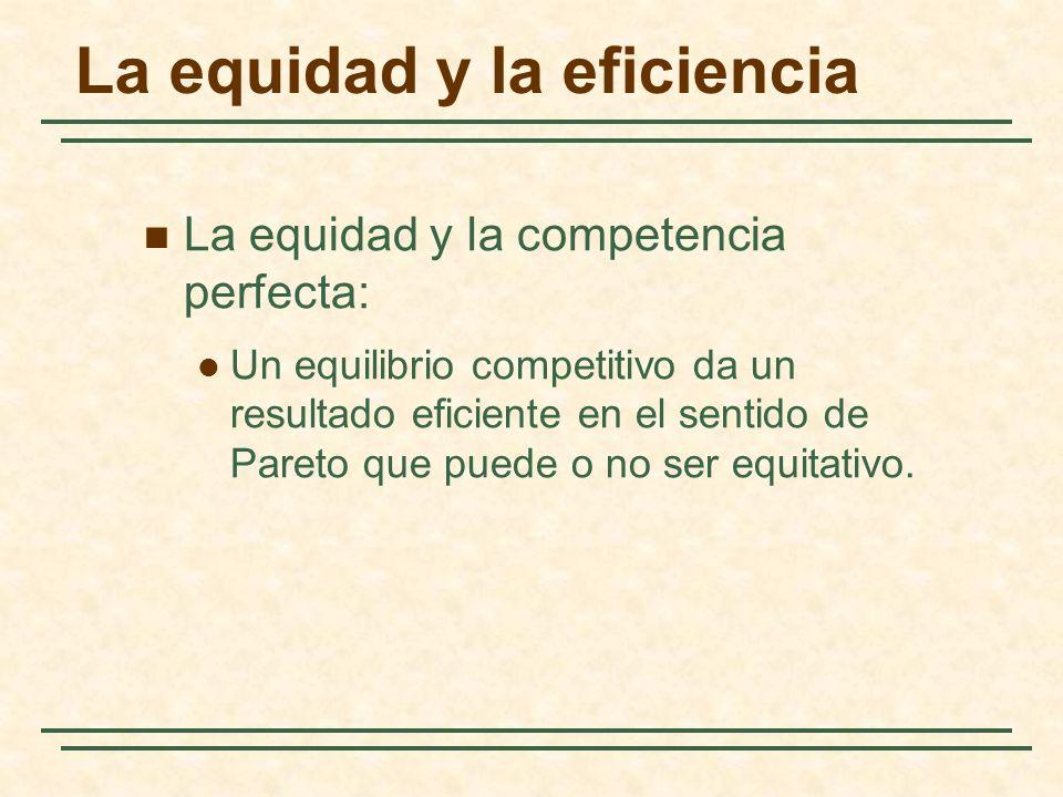 La equidad y la eficiencia La equidad y la competencia perfecta: Un equilibrio competitivo da un resultado eficiente en el sentido de Pareto que puede o no ser equitativo.