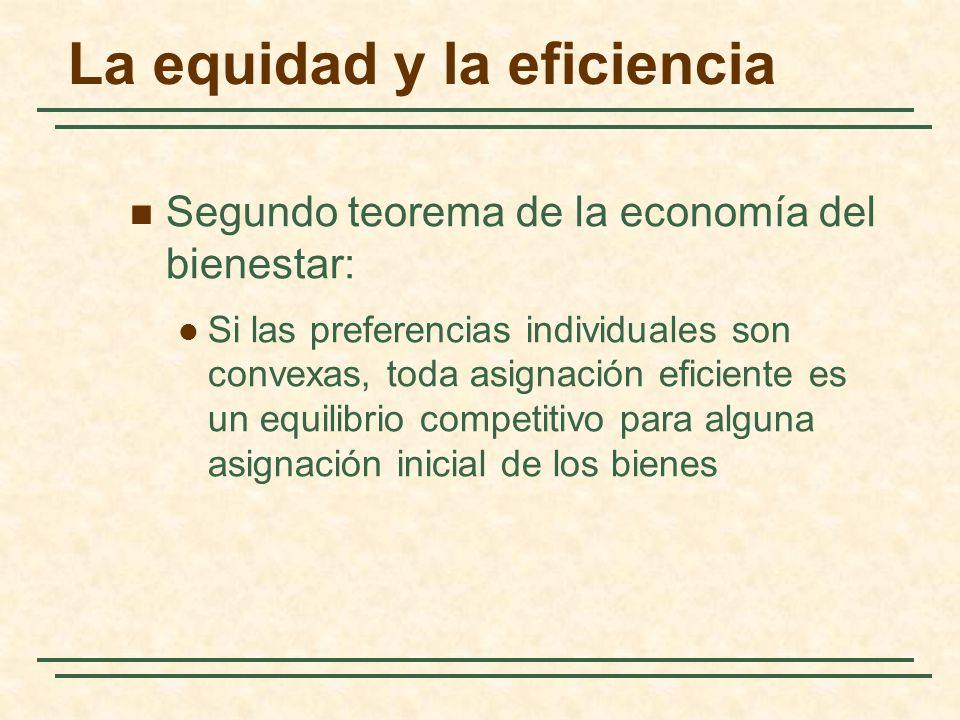 La equidad y la eficiencia Segundo teorema de la economía del bienestar: Si las preferencias individuales son convexas, toda asignación eficiente es un equilibrio competitivo para alguna asignación inicial de los bienes