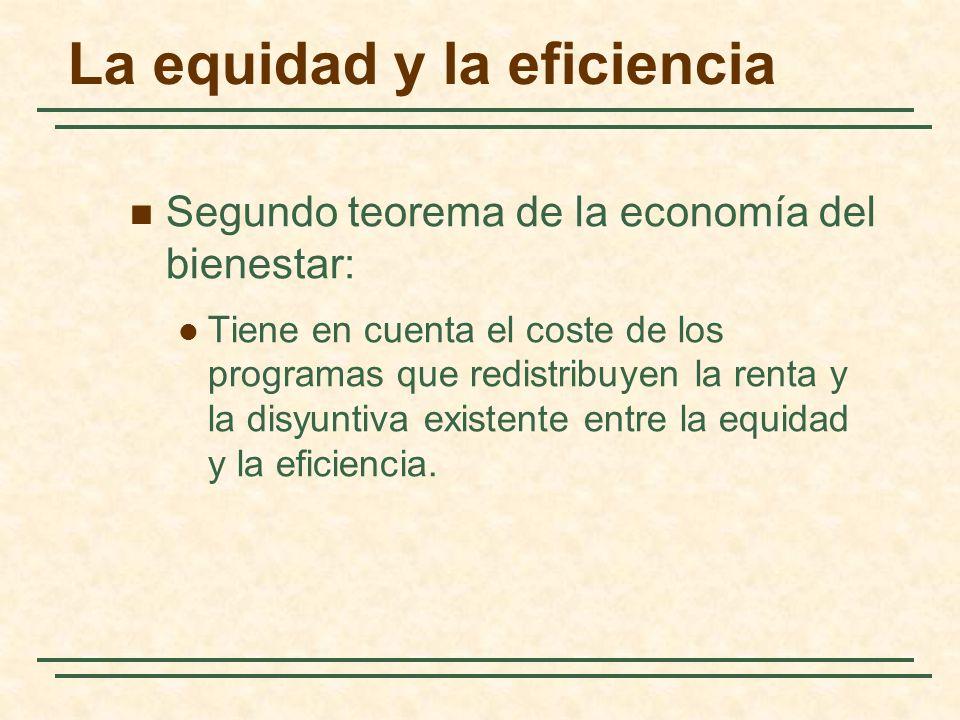 La equidad y la eficiencia Segundo teorema de la economía del bienestar: Tiene en cuenta el coste de los programas que redistribuyen la renta y la disyuntiva existente entre la equidad y la eficiencia.