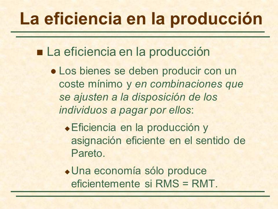 La eficiencia en la producción Los bienes se deben producir con un coste mínimo y en combinaciones que se ajusten a la disposición de los individuos a pagar por ellos: Eficiencia en la producción y asignación eficiente en el sentido de Pareto.