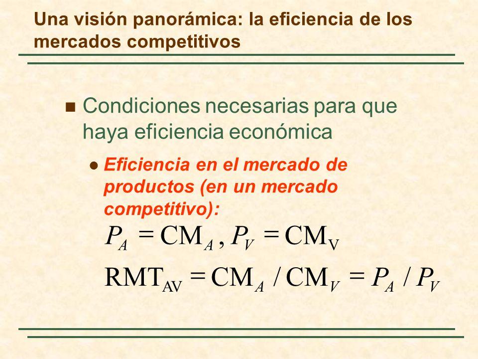 Condiciones necesarias para que haya eficiencia económica Eficiencia en el mercado de productos (en un mercado competitivo): VAVA VAA PP PP /CM/ RMT CM, AV V Una visión panorámica: la eficiencia de los mercados competitivos