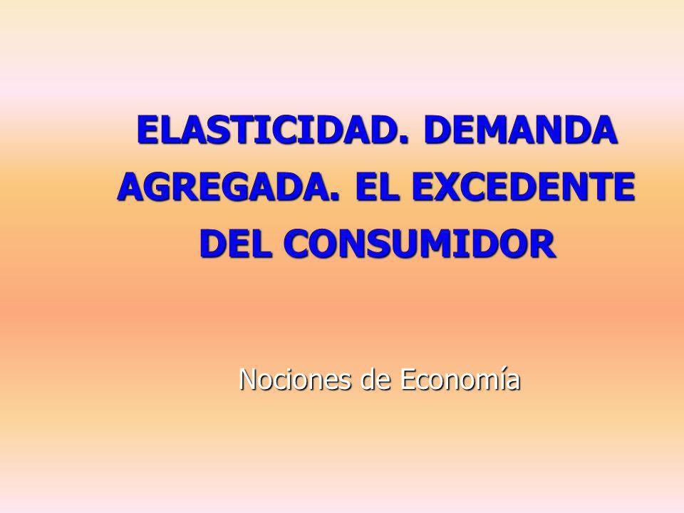 ELASTICIDAD. DEMANDA AGREGADA. EL EXCEDENTE DEL CONSUMIDOR Nociones de Economía
