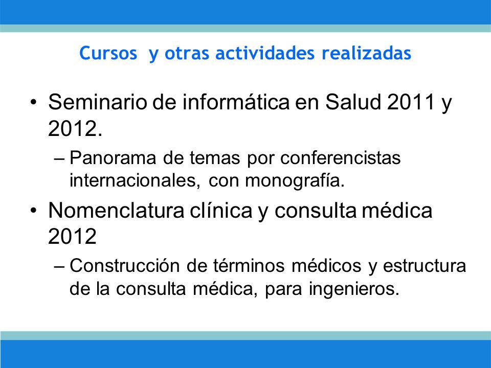 Cursos y otras actividades realizadas Seminario de informática en Salud 2011 y 2012.