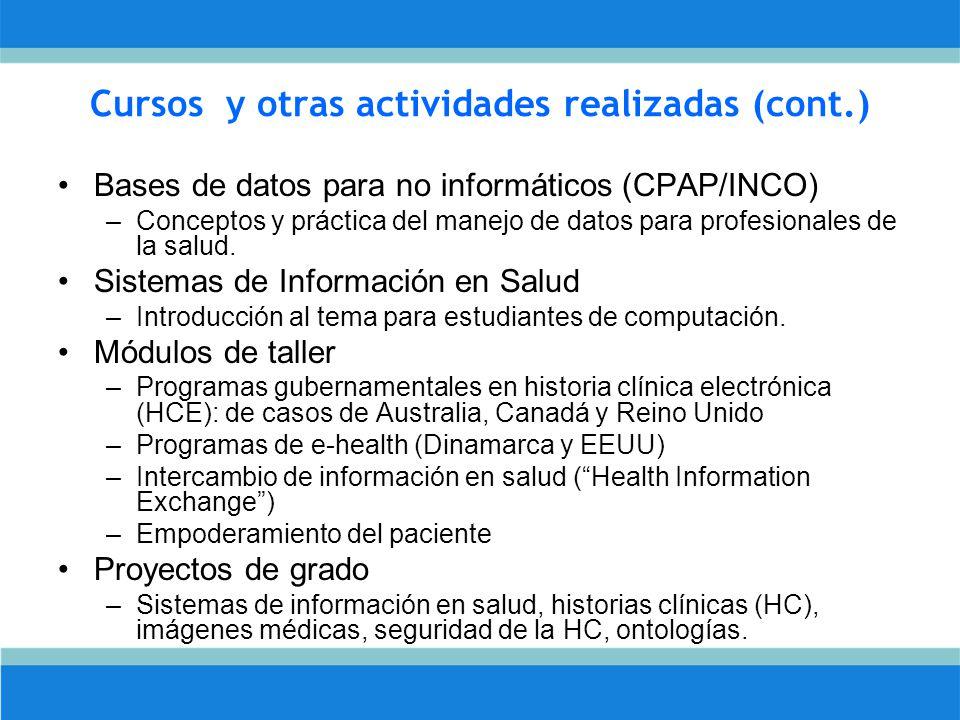 Cursos y otras actividades realizadas (cont.) Bases de datos para no informáticos (CPAP/INCO) –Conceptos y práctica del manejo de datos para profesionales de la salud.