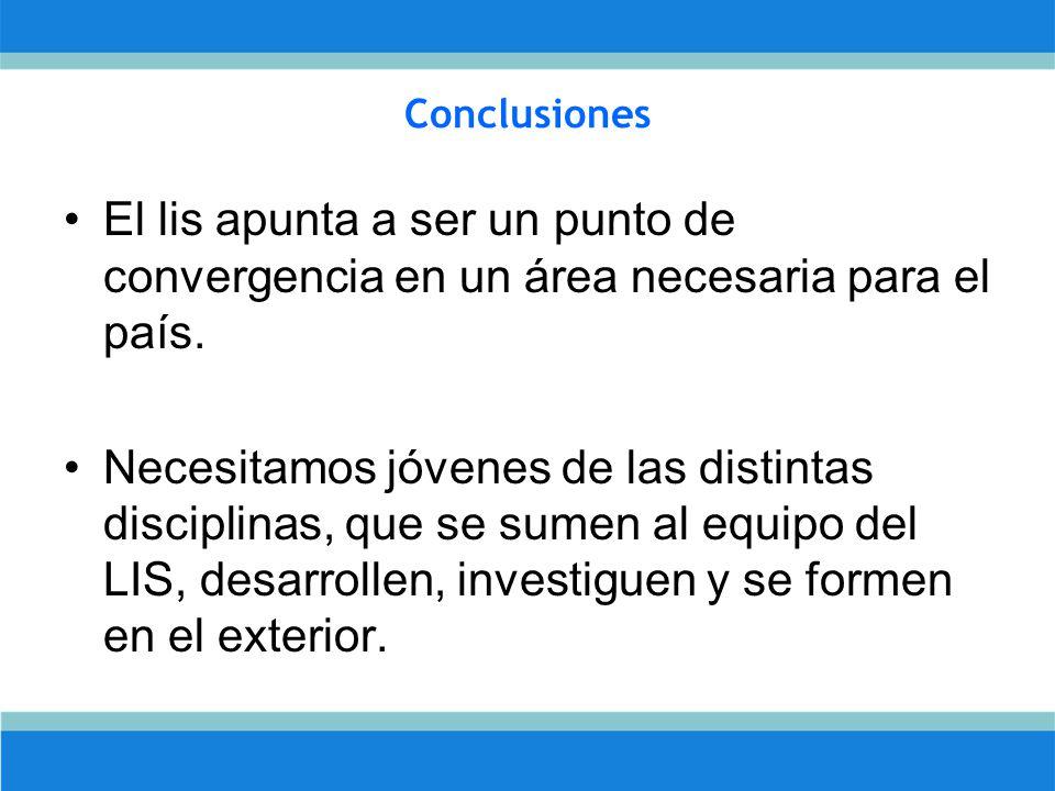 Conclusiones El lis apunta a ser un punto de convergencia en un área necesaria para el país.