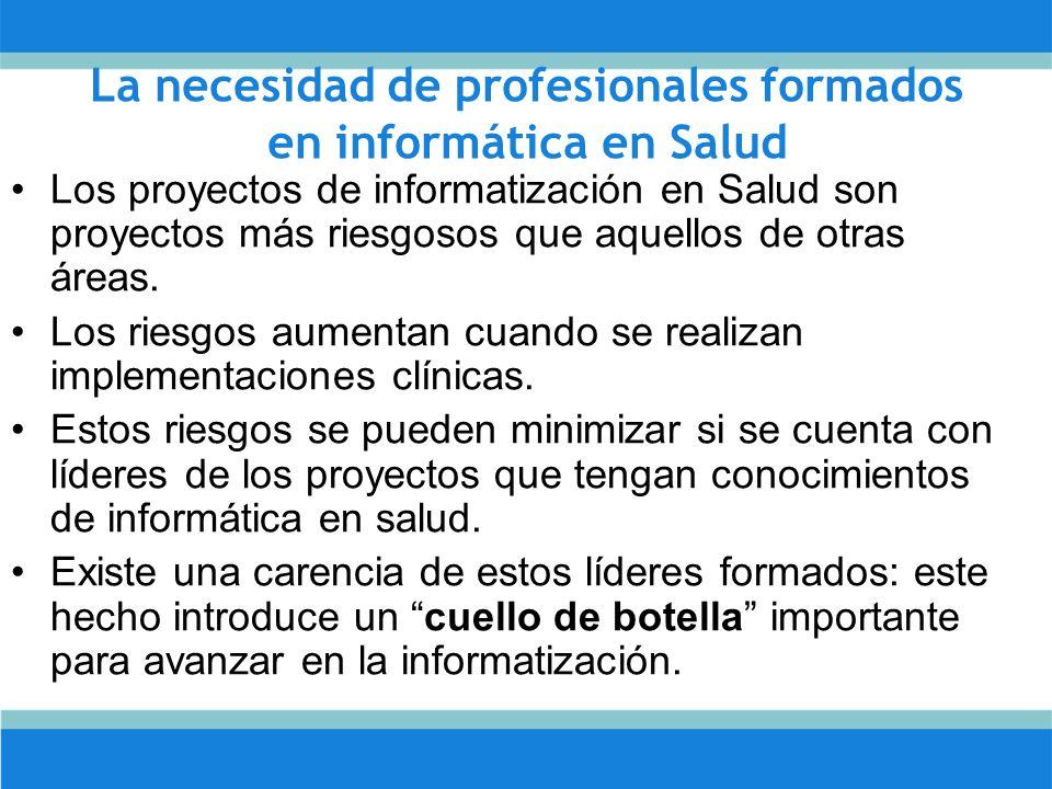 La necesidad de profesionales formados en informática en Salud Los proyectos de informatización en Salud son proyectos más riesgosos que aquellos de otras áreas.