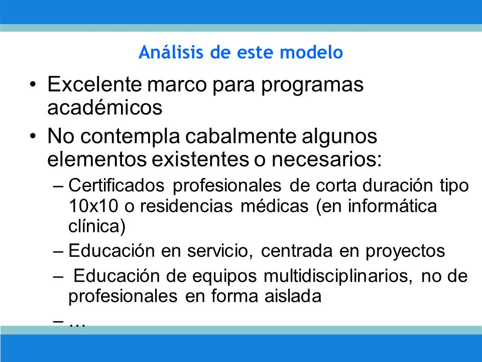 Análisis de este modelo Excelente marco para programas académicos No contempla cabalmente algunos elementos existentes o necesarios: –Certificados profesionales de corta duración tipo 10x10 o residencias médicas (en informática clínica) –Educación en servicio, centrada en proyectos – Educación de equipos multidisciplinarios, no de profesionales en forma aislada –…