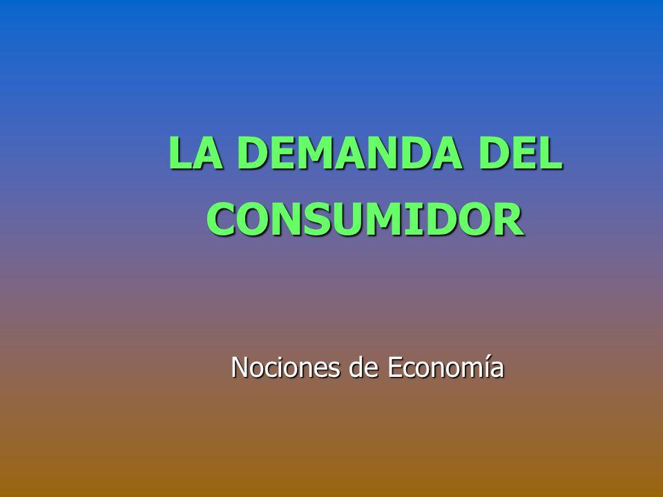 LA DEMANDA DEL CONSUMIDOR Nociones de Economía