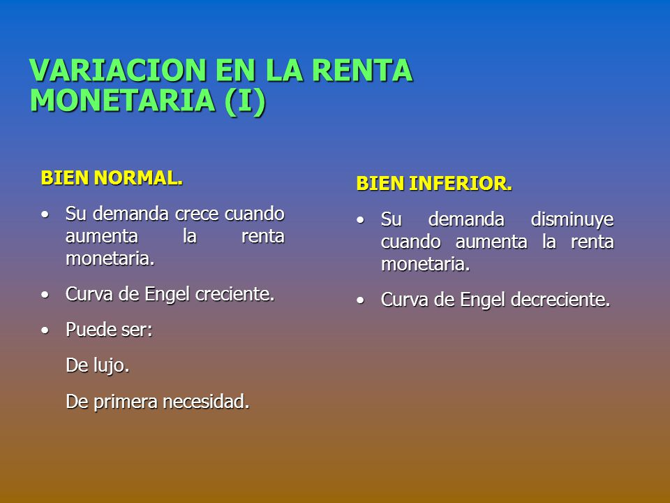 VARIACION EN LA RENTA MONETARIA (I) BIEN NORMAL.