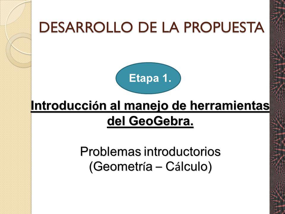 DESARROLLO DE LA PROPUESTA Etapa 1.Introducci ó n al manejo de herramientas del GeoGebra.