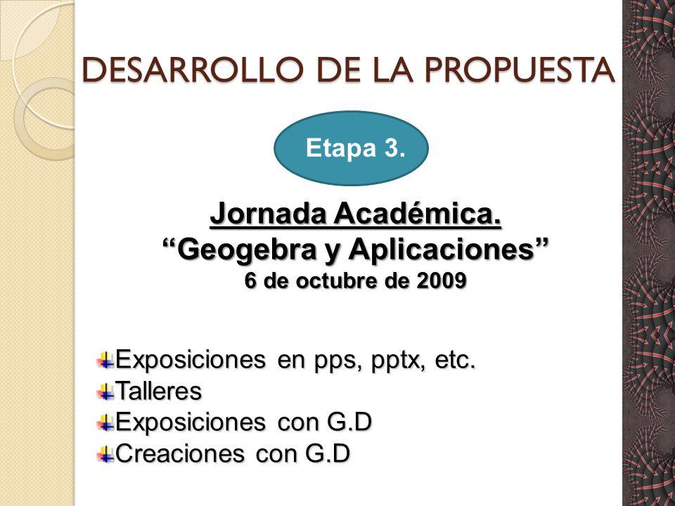 DESARROLLO DE LA PROPUESTA Etapa 3.Jornada Académica.