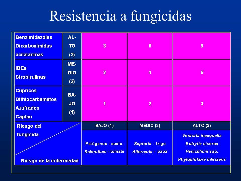 Multisitios: captan, folpet Bencimidazoles, dietofencarb Dicarboximidas: procimidone, iprodione Anilopirimidinas: cyprodinil, pyrimetanil, mepanipyrim